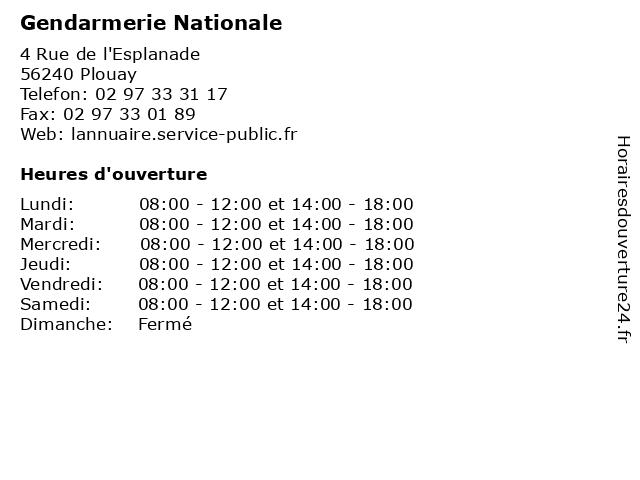 Gendarmerie Nationale à Plouay: adresse et heures d'ouverture