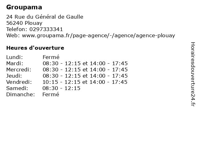 Groupama à Plouay: adresse et heures d'ouverture
