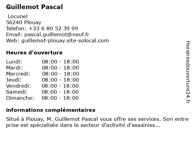 Guillemot Pascal à Plouay: adresse et heures d'ouverture