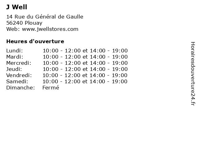 J Well à Plouay: adresse et heures d'ouverture