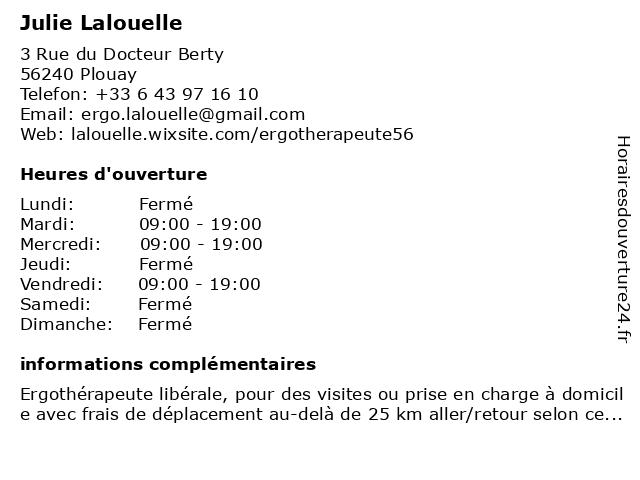 Julie Lalouelle à Plouay: adresse et heures d'ouverture