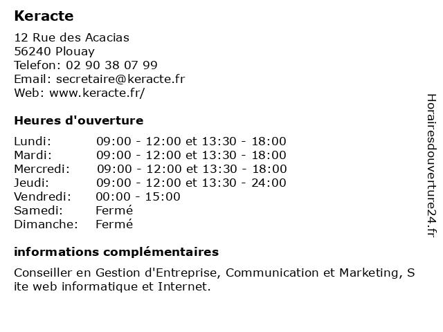 Keracte à Plouay: adresse et heures d'ouverture