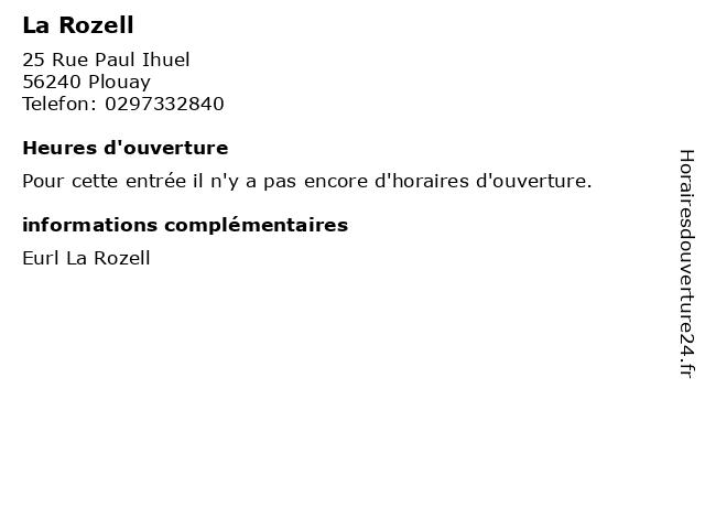 La Rozell à Plouay: adresse et heures d'ouverture