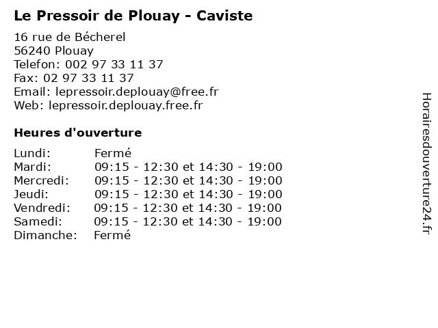 Le Pressoir de Plouay - Caviste à Plouay: adresse et heures d'ouverture