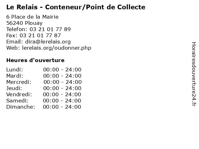 Le Relais - Conteneur/Point de Collecte à Plouay: adresse et heures d'ouverture