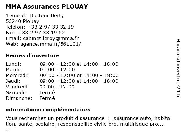 MMA ASSURANCES PLOUAY à Plouay: adresse et heures d'ouverture