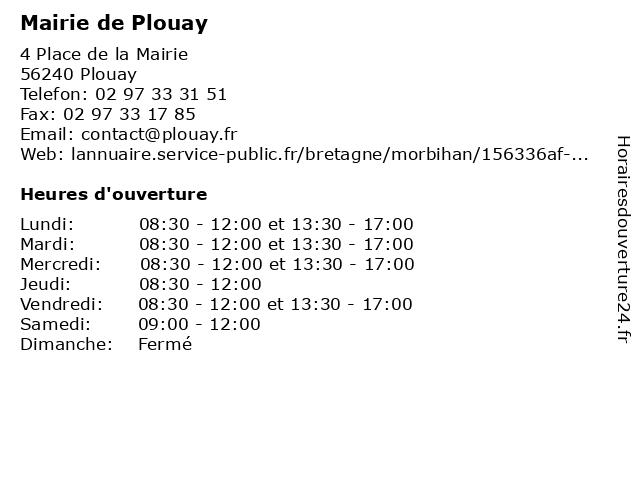 Mairie de Plouay à Plouay: adresse et heures d'ouverture