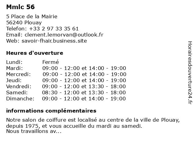 Mmlc 56 à Plouay: adresse et heures d'ouverture