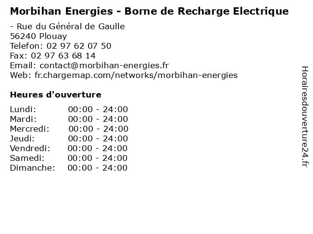 Morbihan Energies - Borne de Recharge Electrique à Plouay: adresse et heures d'ouverture