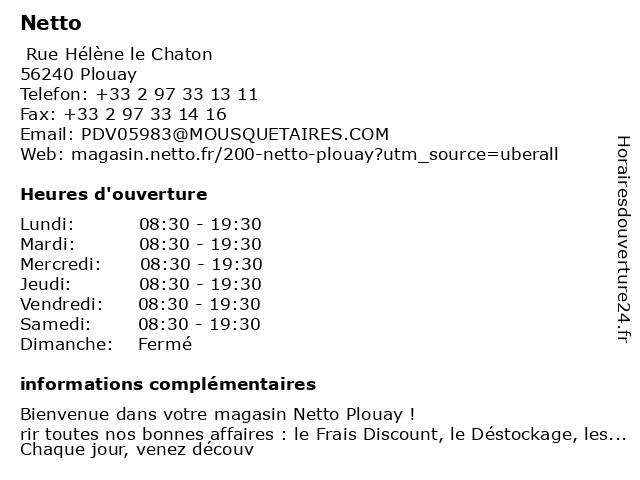 Netto à Plouay: adresse et heures d'ouverture