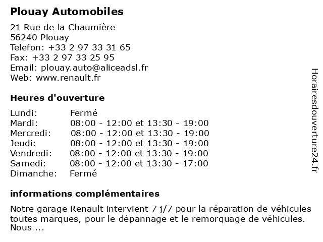 Plouay Automobiles à Plouay: adresse et heures d'ouverture
