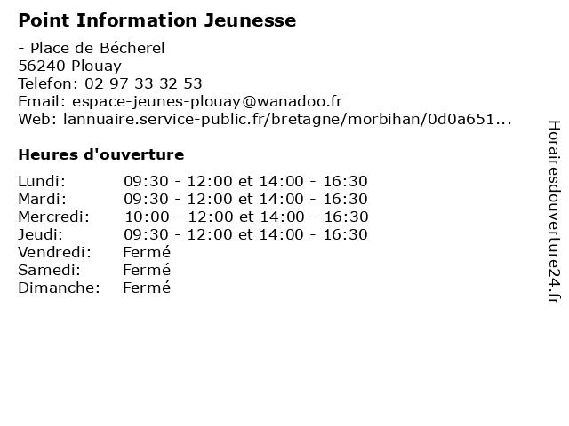Point Information Jeunesse à Plouay: adresse et heures d'ouverture