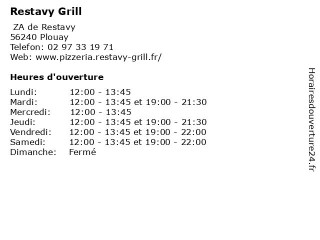 Restavy Grill à Plouay: adresse et heures d'ouverture