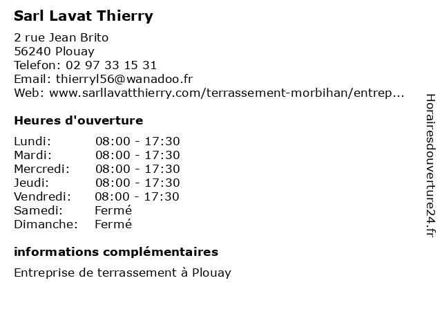 Sarl Lavat Thierry à Plouay: adresse et heures d'ouverture