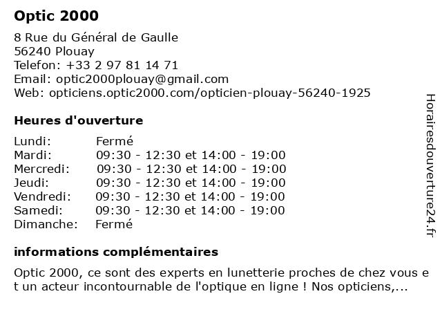 Tdcp à Plouay: adresse et heures d'ouverture