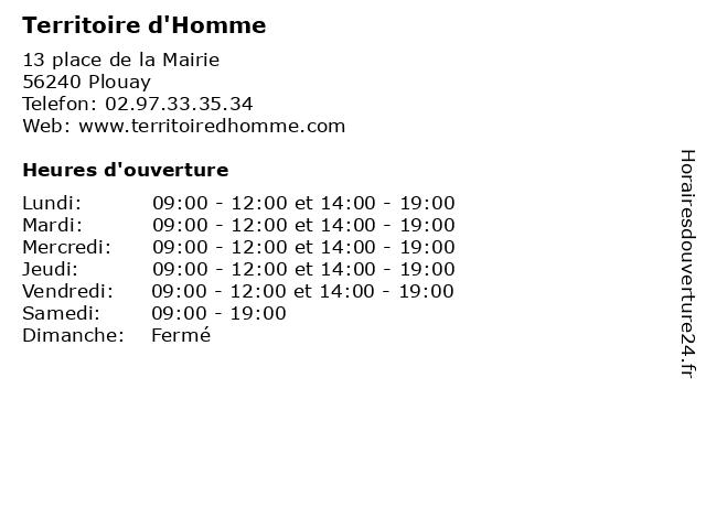 Territoire d'Homme à Plouay: adresse et heures d'ouverture