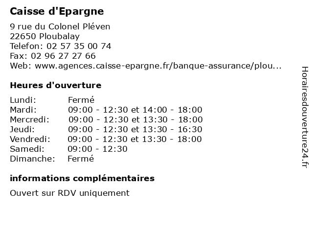 Caisse d'Epargne à Ploubalay: adresse et heures d'ouverture