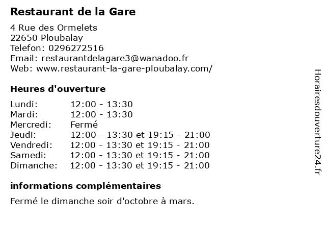 Restaurant de la Gare à Ploubalay: adresse et heures d'ouverture