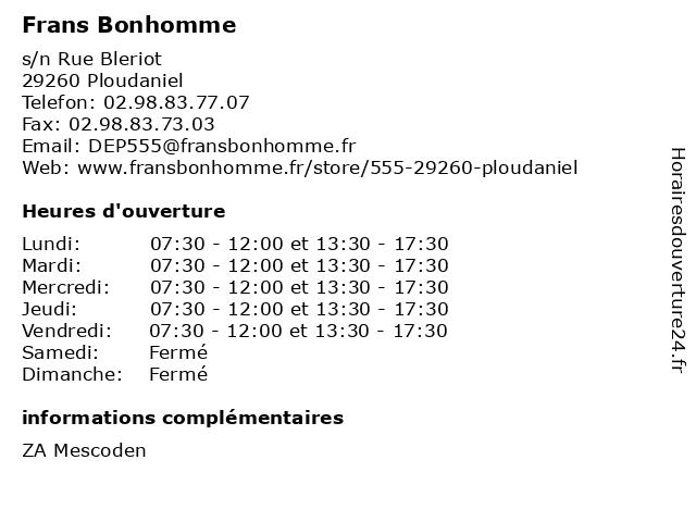 Frans Bonhomme à Ploudaniel: adresse et heures d'ouverture