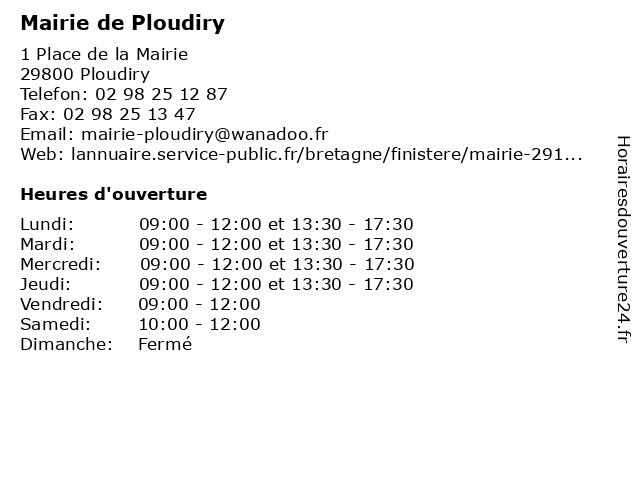 Mairie de Ploudiry à Ploudiry: adresse et heures d'ouverture