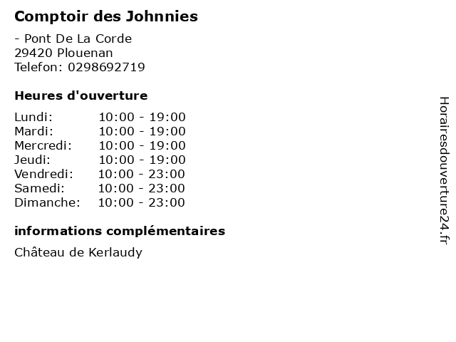 Comptoir des Johnnies à Plouenan: adresse et heures d'ouverture