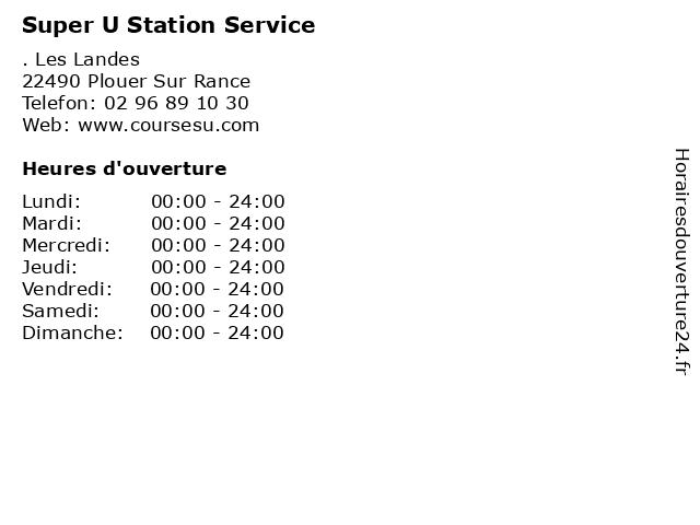 Super U Station Service à Plouer Sur Rance: adresse et heures d'ouverture