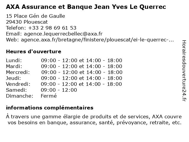 AXA Assurance JEAN YVES LE QUERREC à Plouescat: adresse et heures d'ouverture