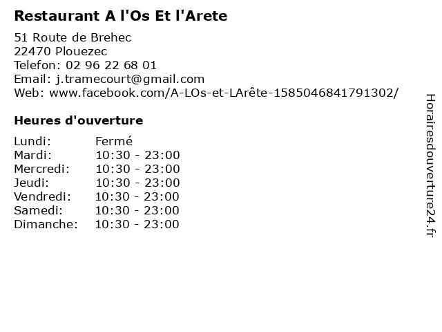 Restaurant A l'Os Et l'Arete à Plouezec: adresse et heures d'ouverture