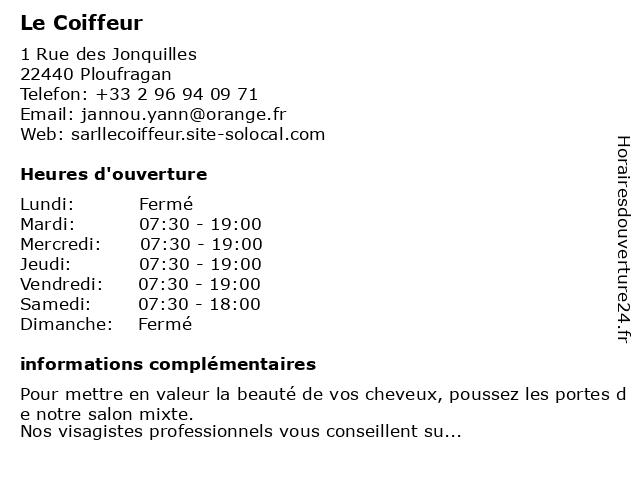 Le Coiffeur à Ploufragan: adresse et heures d'ouverture