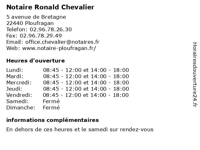 Notaire Ronald Chevalier à Ploufragan: adresse et heures d'ouverture