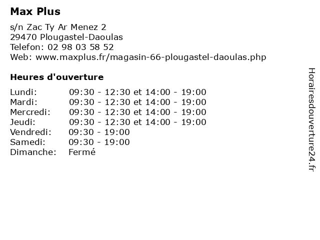 Max Plus à Plougastel-Daoulas: adresse et heures d'ouverture