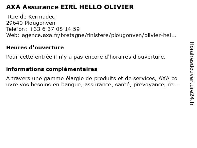 AXA Assurance EIRL HELLO OLIVIER à Plougonven: adresse et heures d'ouverture