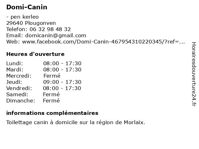 Domi-Canin à Plougonven: adresse et heures d'ouverture