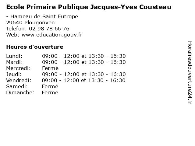 Ecole Primaire Publique Jacques-Yves Cousteau à Plougonven: adresse et heures d'ouverture