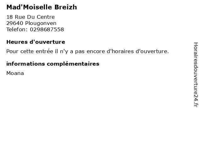 Mad'Moiselle Breizh à Plougonven: adresse et heures d'ouverture
