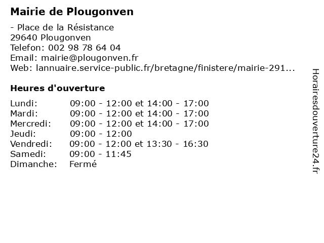 Mairie de Plougonven à Plougonven: adresse et heures d'ouverture