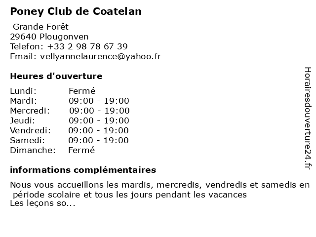 Poney Club de Coatelan à Plougonven: adresse et heures d'ouverture