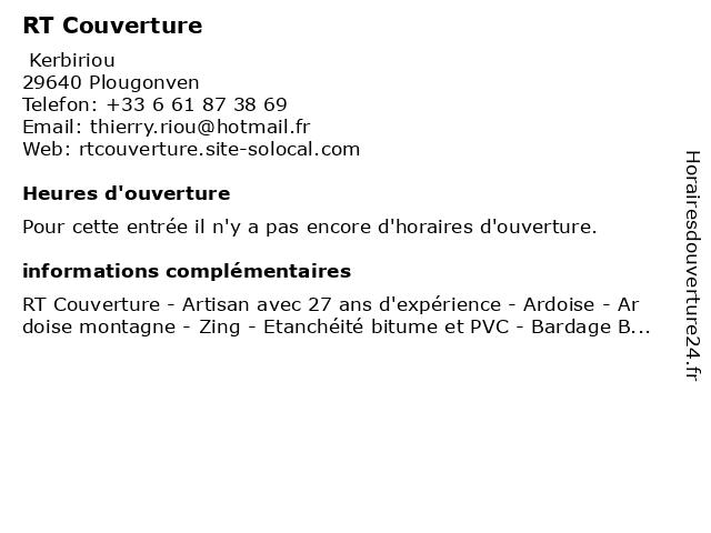 RT Couverture à Plougonven: adresse et heures d'ouverture