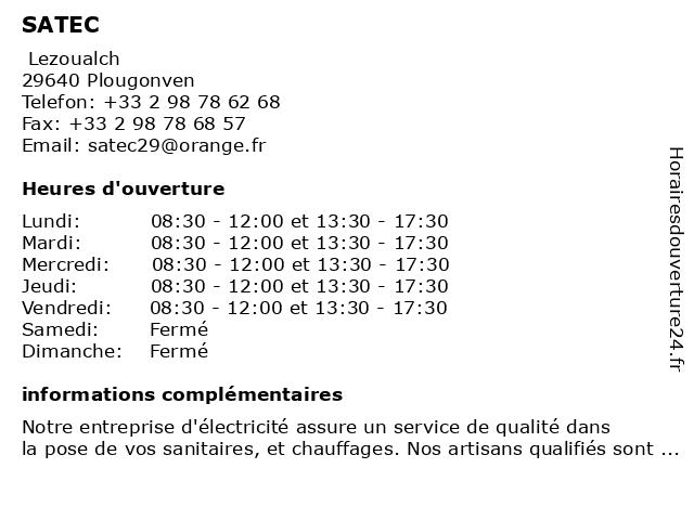SATEC à Plougonven: adresse et heures d'ouverture