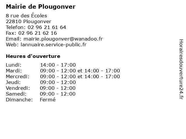Mairie de Plougonver à Plougonver: adresse et heures d'ouverture