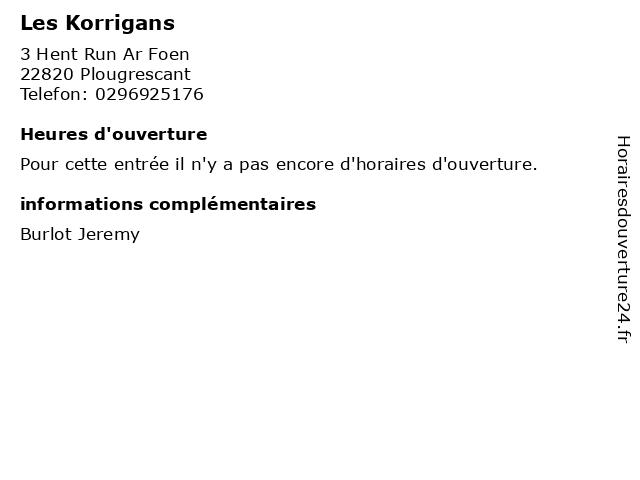 Les Korrigans à Plougrescant: adresse et heures d'ouverture
