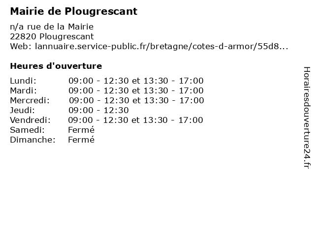 Mairie de Plougrescant à Plougrescant: adresse et heures d'ouverture