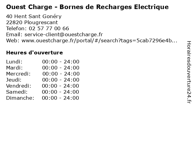 Ouest Charge - Bornes de Recharges Electrique à Plougrescant: adresse et heures d'ouverture
