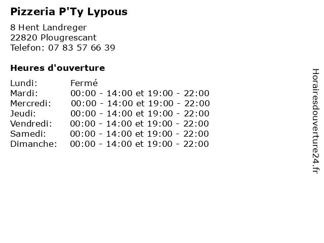 Pizzeria P'Ty Lypous à Plougrescant: adresse et heures d'ouverture