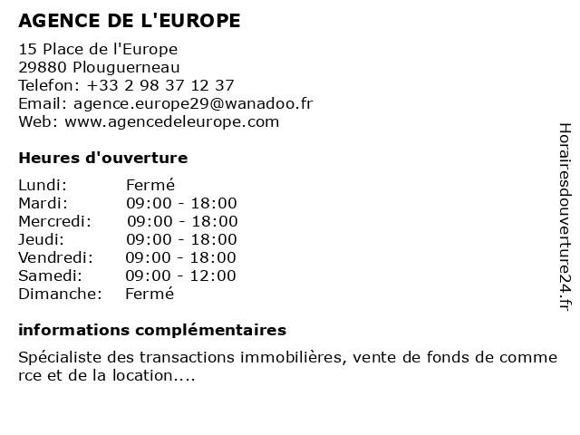AGENCE DE L'EUROPE à Plouguerneau: adresse et heures d'ouverture