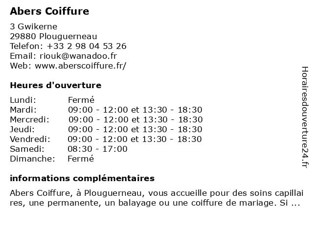 Abers Coiffure à Plouguerneau: adresse et heures d'ouverture