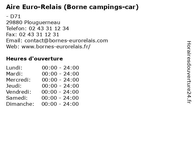 Aire Euro-Relais (Borne campings-car) à Plouguerneau: adresse et heures d'ouverture