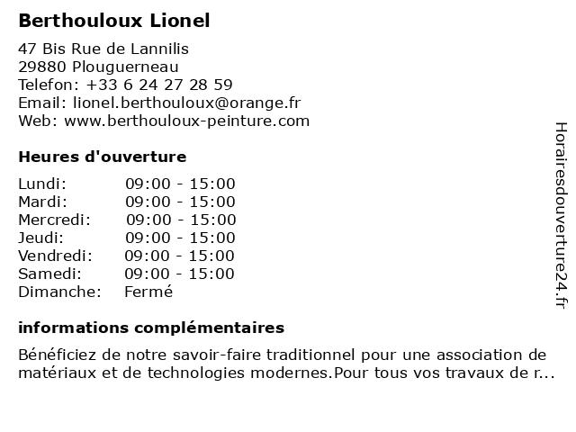 Berthouloux Lionel à Plouguerneau: adresse et heures d'ouverture