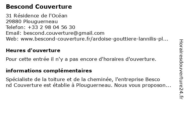 Bescond Couverture à Plouguerneau: adresse et heures d'ouverture