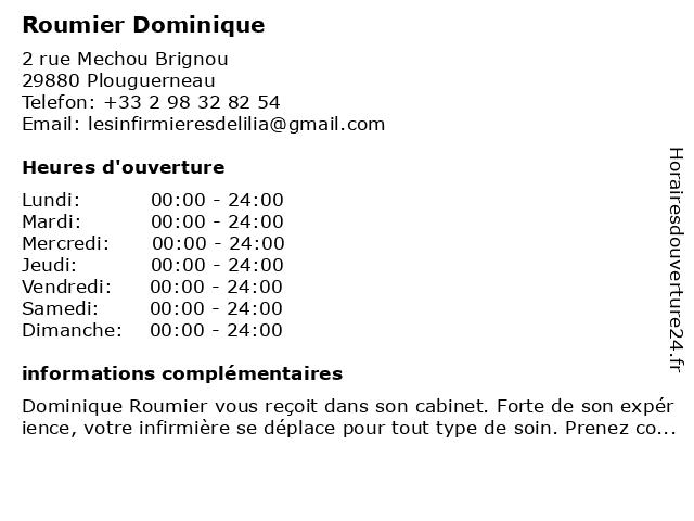 Cabinet Infirmier Roumier Dominique à Plouguerneau: adresse et heures d'ouverture